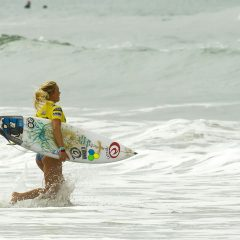 Bethany Hamilton heading out to her surf heat.