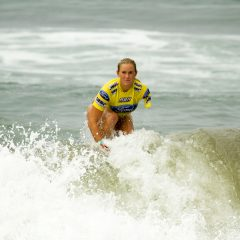 Bethany Hamilton finishing a well done surf heat.