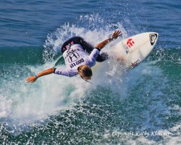 Sally Fitzgibbons showing her surf style at the US Open in California.