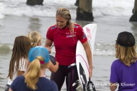 Stephanie signing autographs at the US Open Surf Contest.