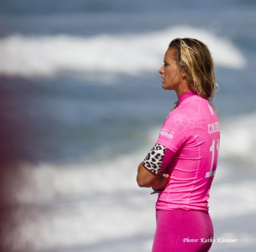 Courtney before her heat at the Swatch Women's Pro 2017