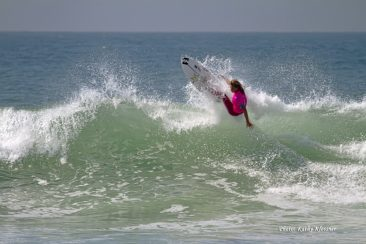 Courtney Conlogue doing an off the lip at Trestles, CA 2017