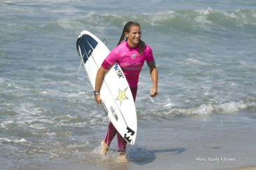 Courtney Conlogue smiles as she won her heat at Trestles.