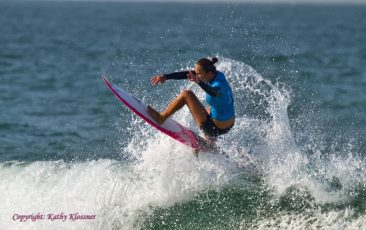 Carissa Moore gets air off a wave.