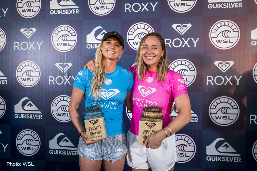 Carissa Moore (HAW) and Lakey Peterson (USA) finalist of the Roxy Pro france 2017, Hossegor , France