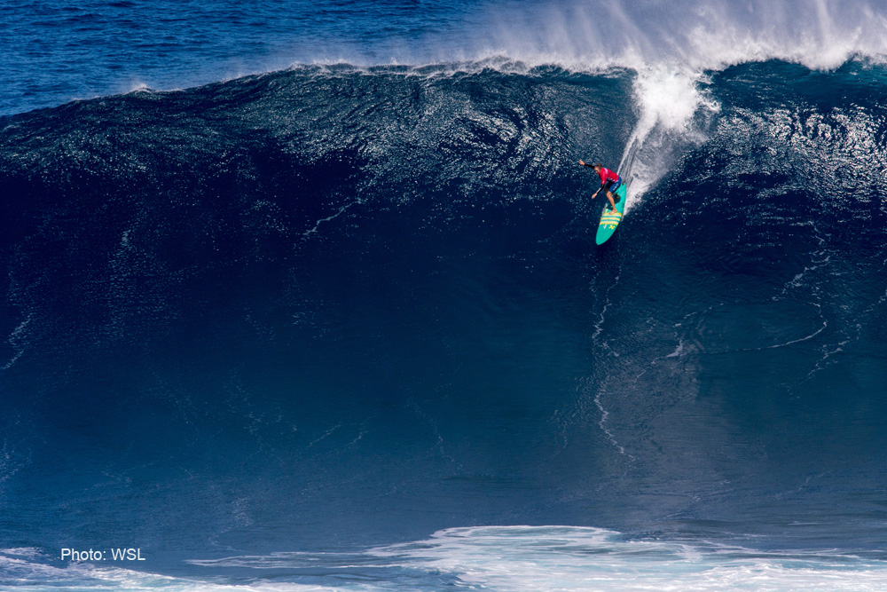 Paige Alms of Hawaii wins the women's 2017 wsl peahi challenge
