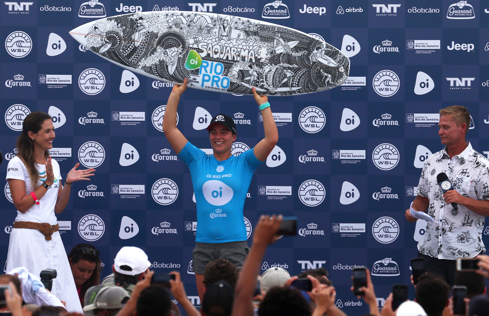World Champion Tyler Wright of Australia wins the Oi Rio Women's Pro at Saquarema, Rio de Janeiro, Brazil.