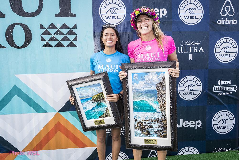 Stephanie Gilmore and Malia Manuel Maui Pro finalist